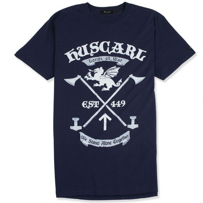 Huscarl Lords of War navy Anglo-Saxon t-shirt with Senlak branded sleeve tab